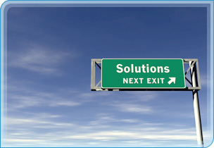 photo of solutions road sign